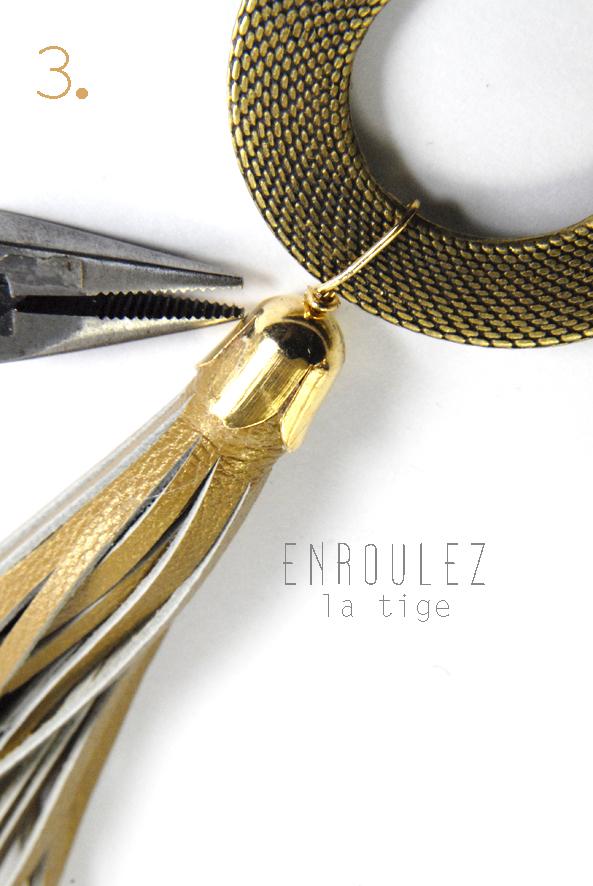 tuto pendentif pompon en cuir doré 3