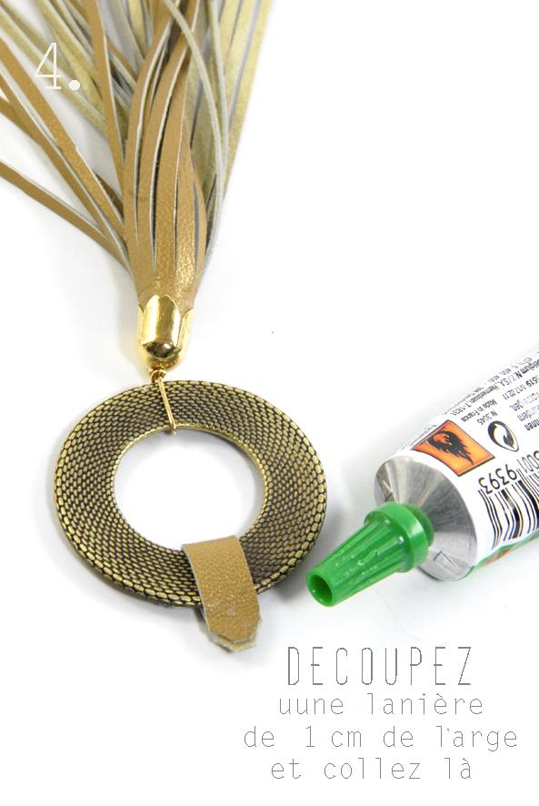 tuto pendentif pompon en cuir doré 4