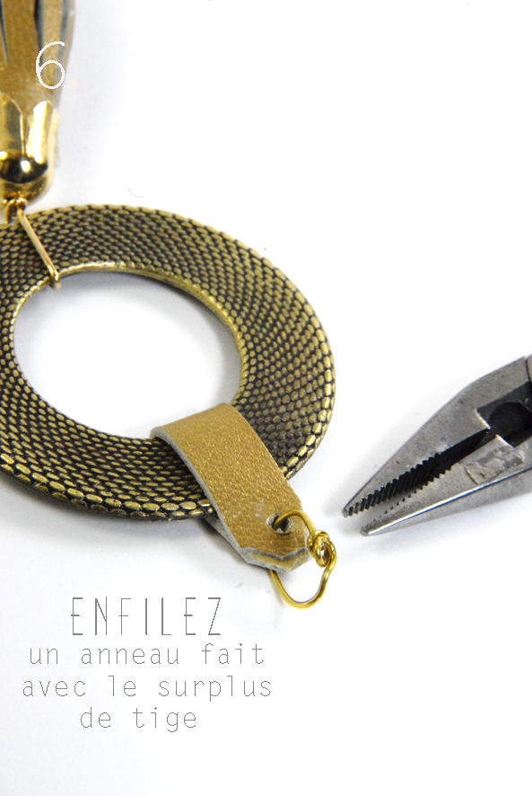 tuto pendentif pompon en cuir doré 6