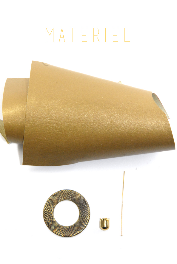 tuto pendentif pompon en cuir doré materiel