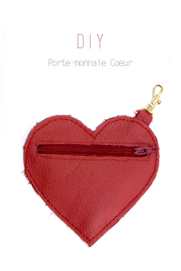 DIY porte-monaie coeur en cuir rouge 1