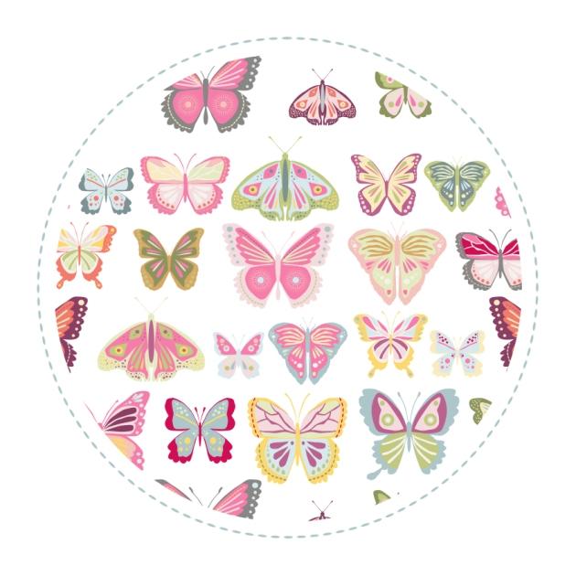 echatillon tissu motif papillon fond blanc