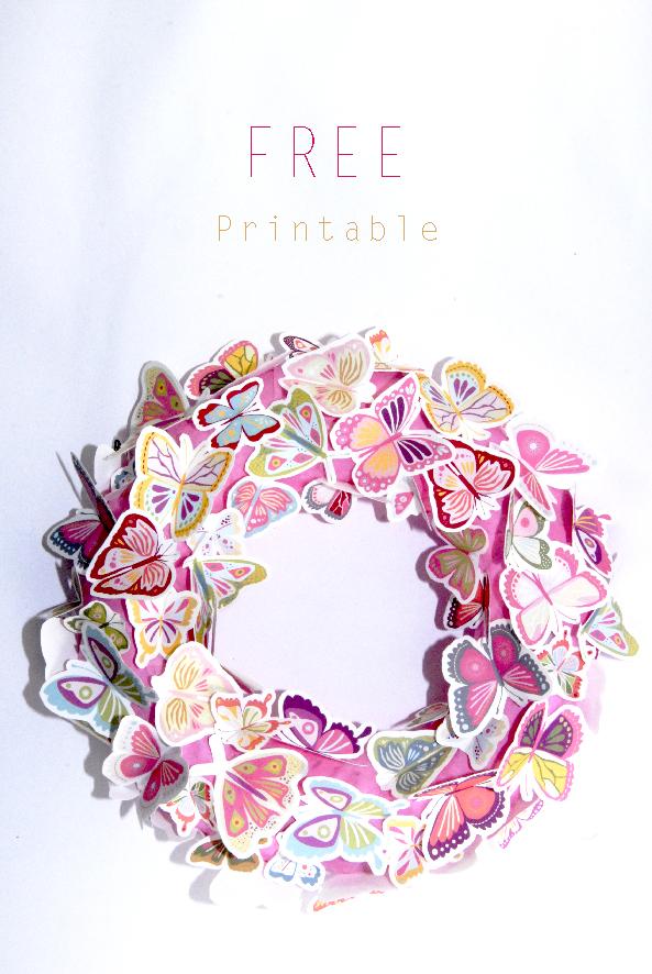 free printalble butterfly wreath 5