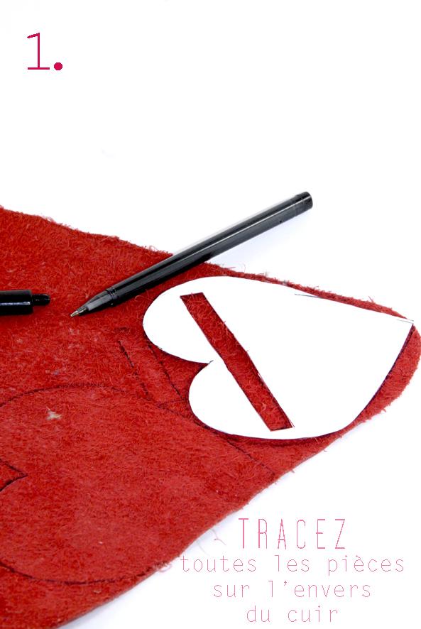 tuto porte monaie coeur en cuir rouge 1