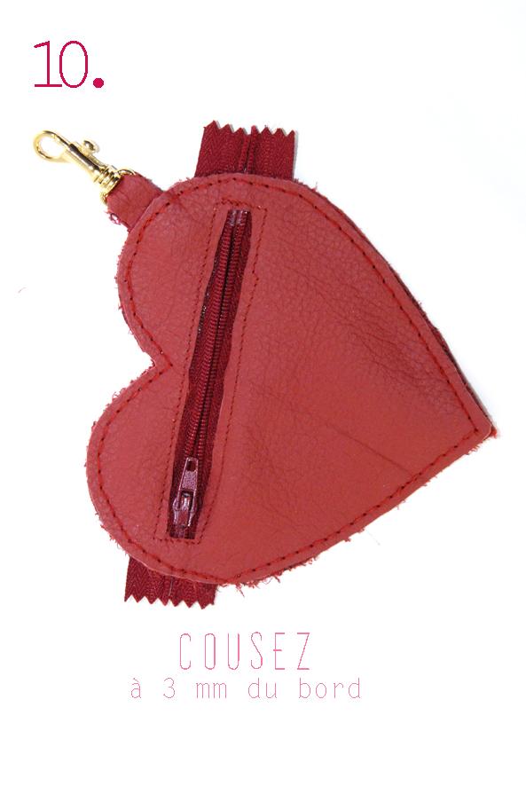 tuto porte monaie coeur en cuir rouge 10