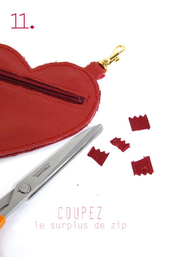tuto porte monaie coeur en cuir rouge 11