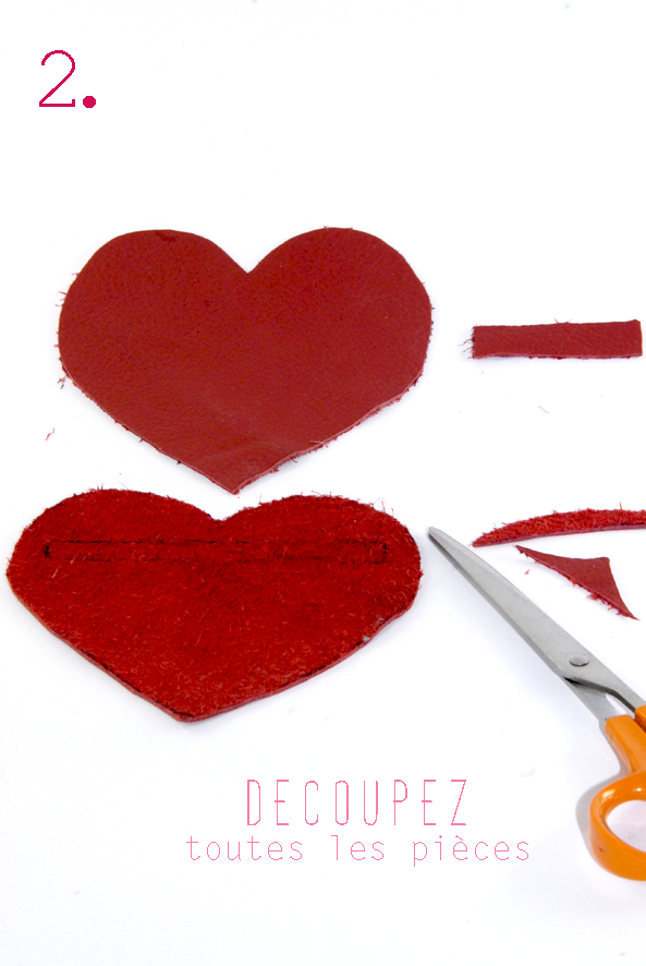 tuto porte monaie coeur en cuir rouge 2
