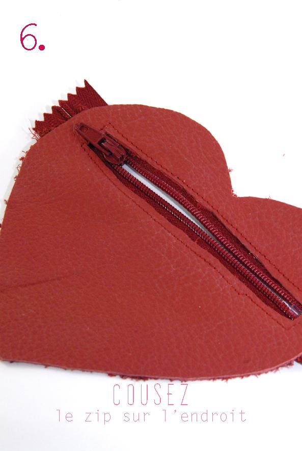 tuto porte monaie coeur en cuir rouge 6
