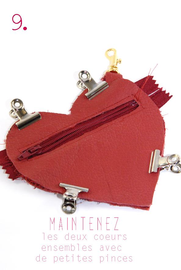 tuto porte monaie coeur en cuir rouge 9