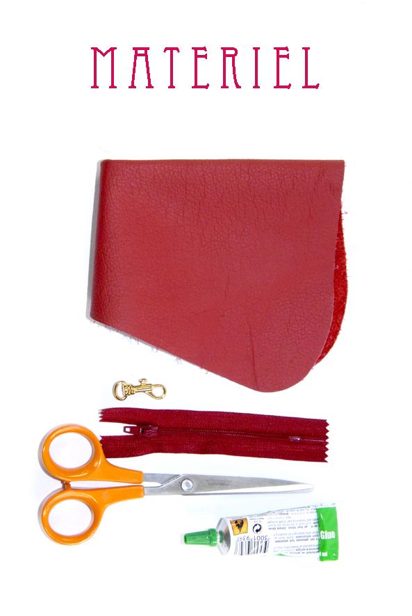 tuto porte monaie coeur en cuir rouge materiel