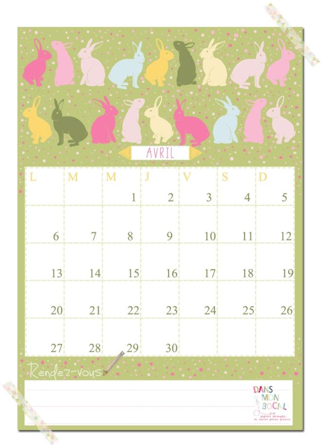 free printable calendar 2014 2015 avril
