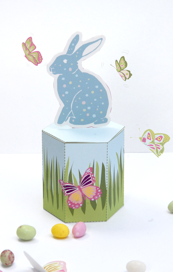 gratuit boite de Paques à imprimer free printable easter box bleu