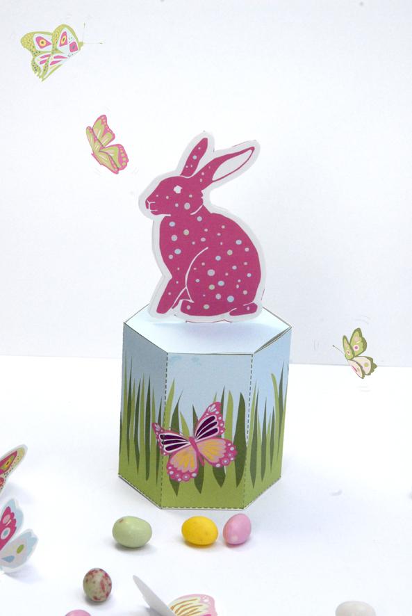 gratuit boite de Paques à imprimer free printable easter box rose