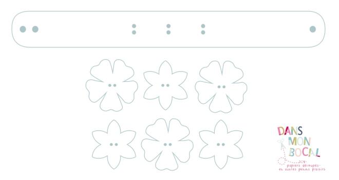gratuit patron bracelet en cuir fleur free printable pattern