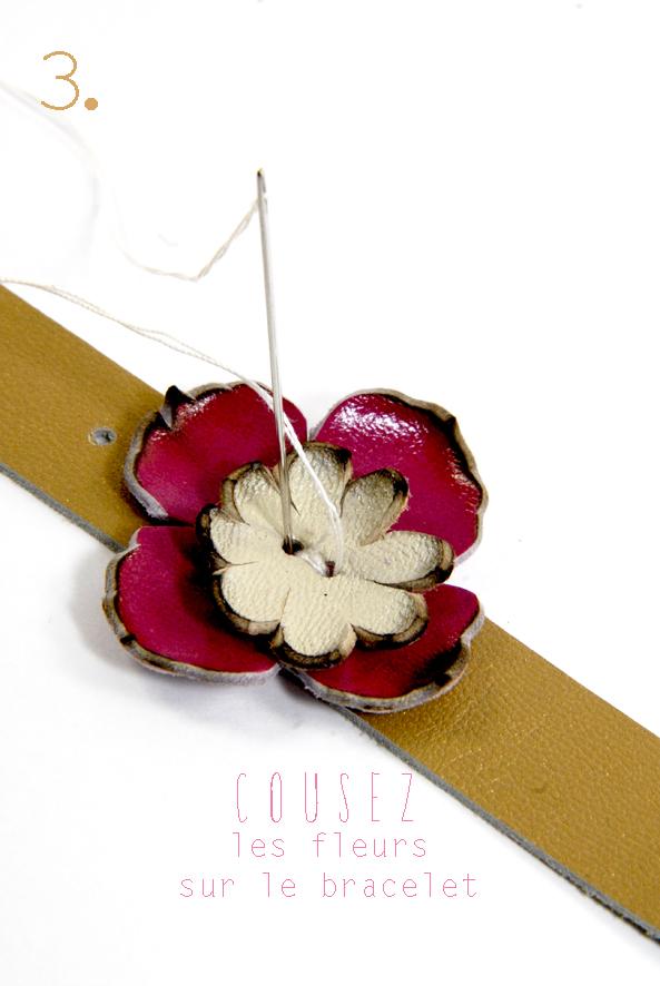 tuto bracelet en cuir à fleur et strass 3