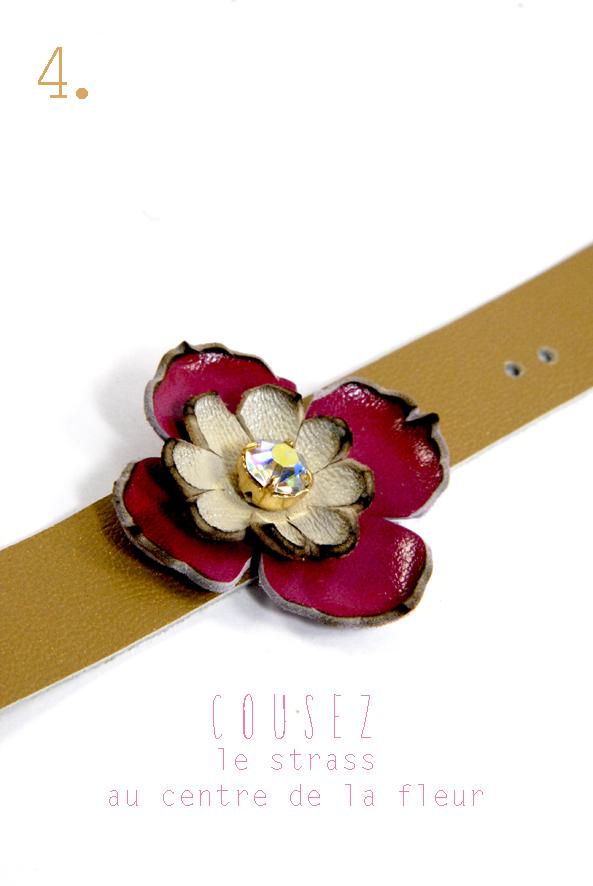 tuto bracelet en cuir à fleur et strass 4