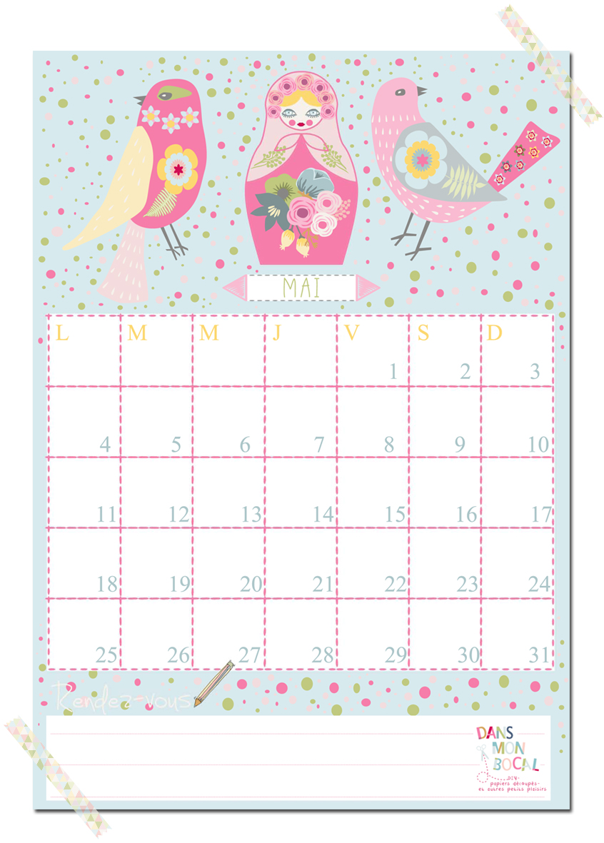Calendar Mai : Calendrier dans mon bocal page