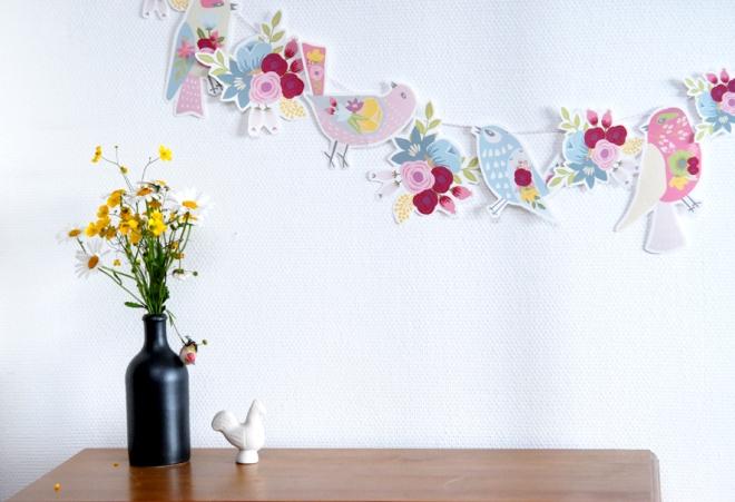 gratuit à imprimer guirlande oiseaux bouquet de fleur free printable bunting birds 1