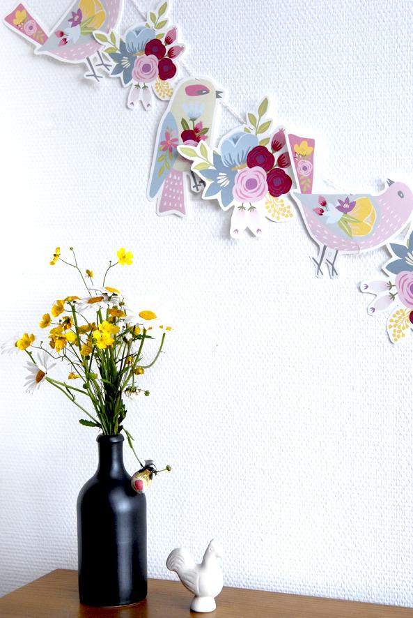 gratuit à imprimer guirlande oiseaux bouquet de fleur free printable bunting birds 2