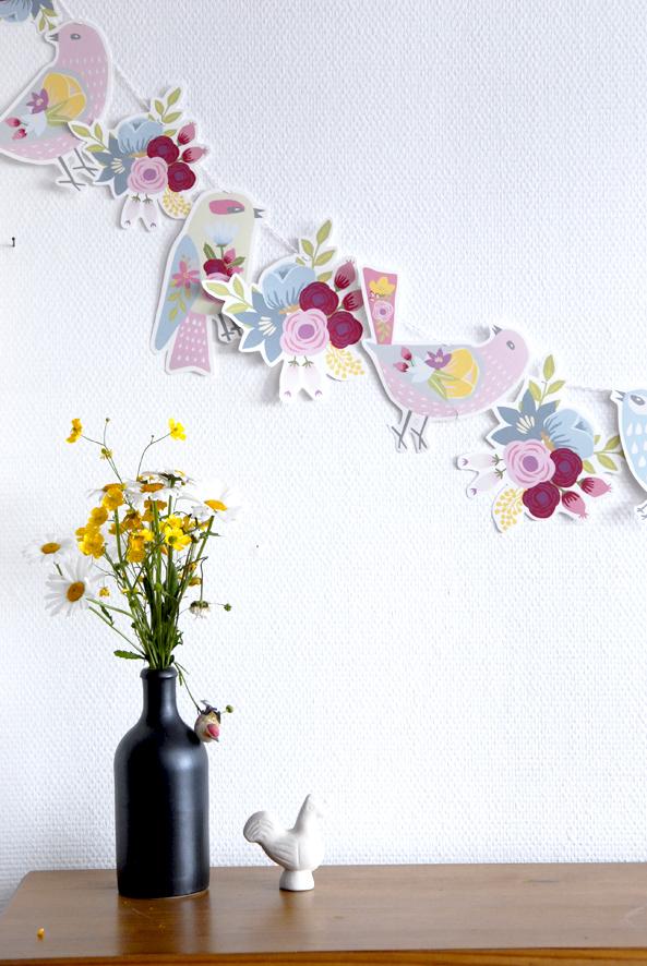 gratuit à imprimer guirlande oiseaux bouquet de fleur free printable bunting birds 3