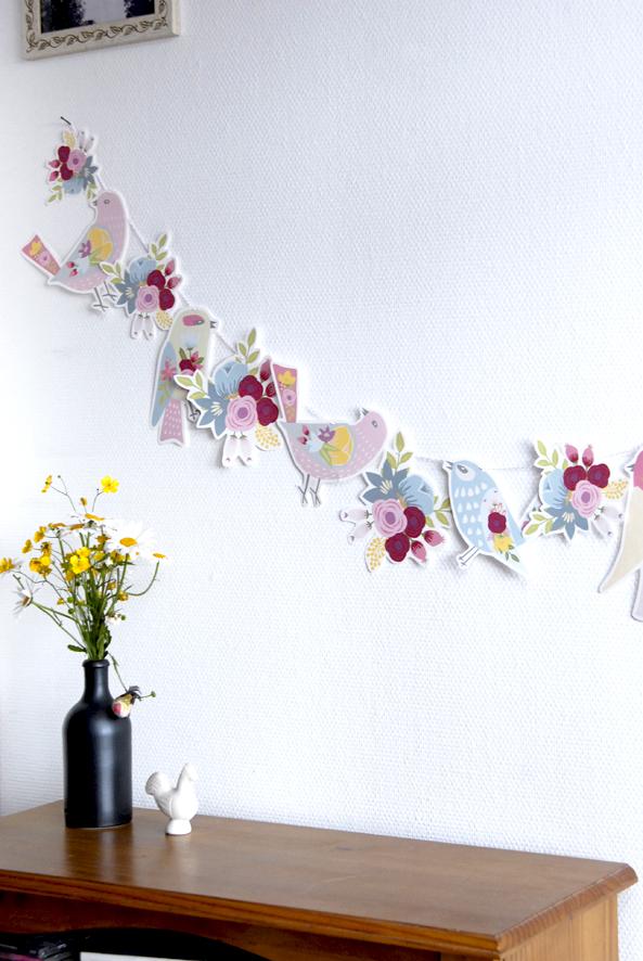 gratuit à imprimer guirlande oiseaux bouquet de fleur free printable bunting birds 4