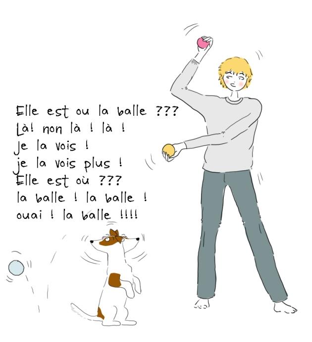 illustration jack russell qui joue à la balle