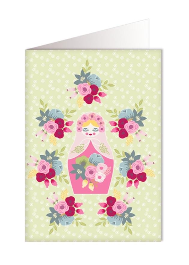 gratuit à imprimer carte poupée russe bouquet de fleur