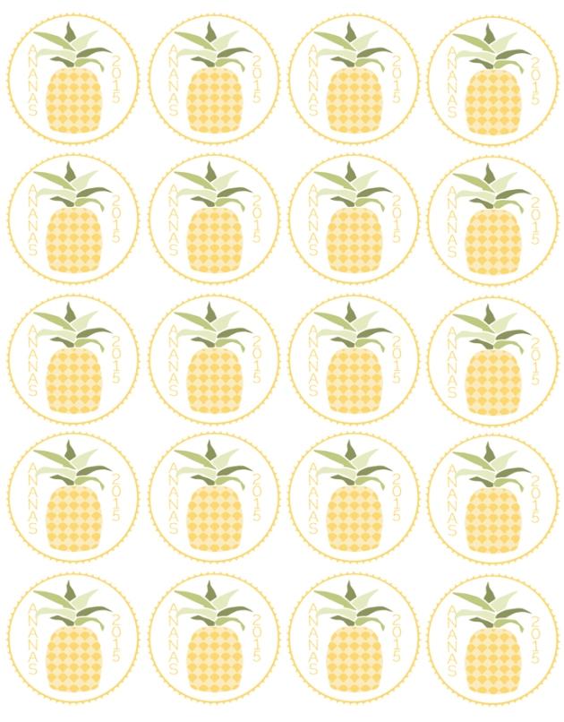 free printable label jam gratuit étiquette confiture ananas
