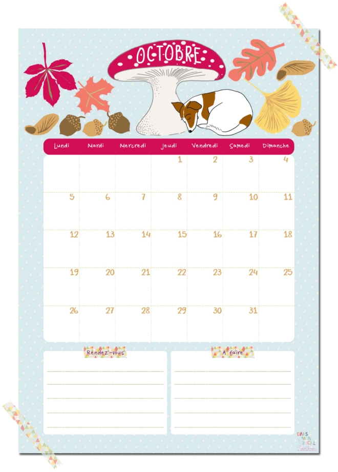 gratuit calendrier octobre free printable calendar illustration