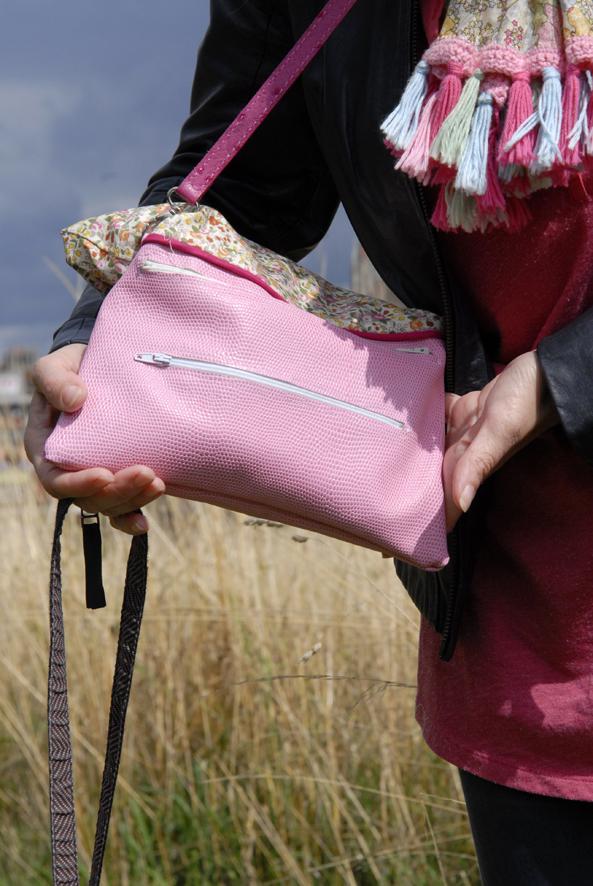 sac en cuir et tissu liberty 1