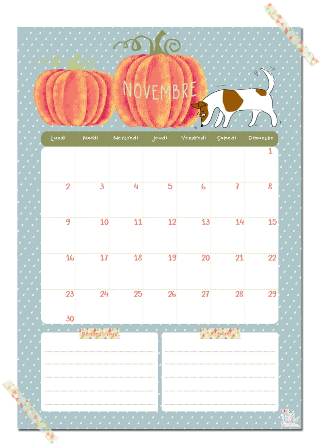 gratuit calendrier novembre free printable calendar illustration