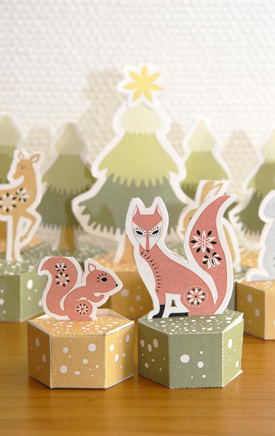 free pritable advent calendar gratuit calendrier de l'avent à imprimer renard écureuil