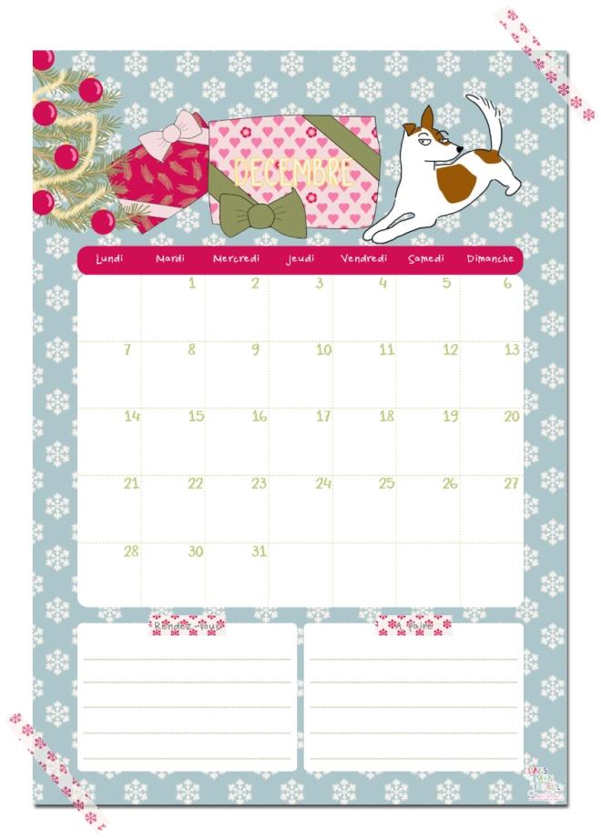 gratuit calendrier decembre free printable calendar illustration