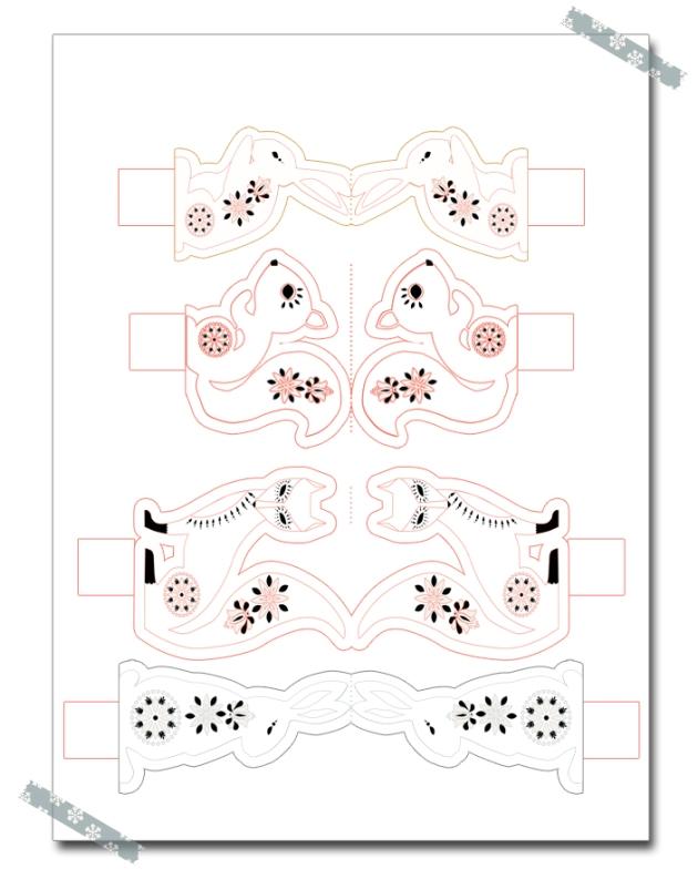 free printable christmas box gratuits boite de noël à imprimer animaux à colorier