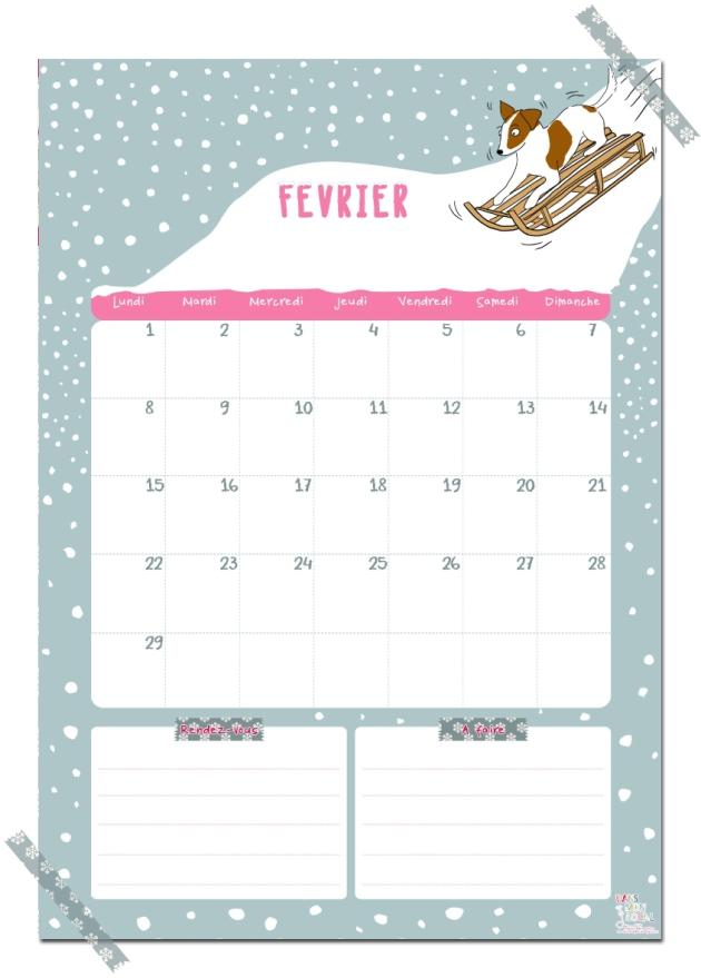 gratuit calendrier fevrier free printable calendar illustration