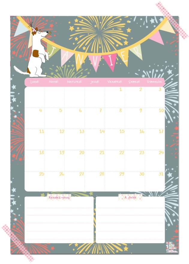 gratuit calendrier janvier free printable calendar illustration