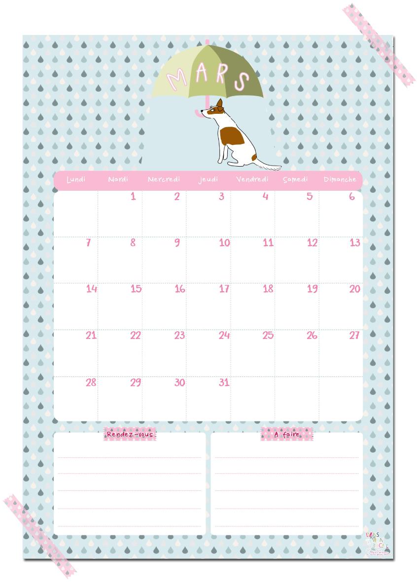 Gut bekannt Calendriers mensuels : mars 2016 (gratuit - à imprimer) - C'est  OW59