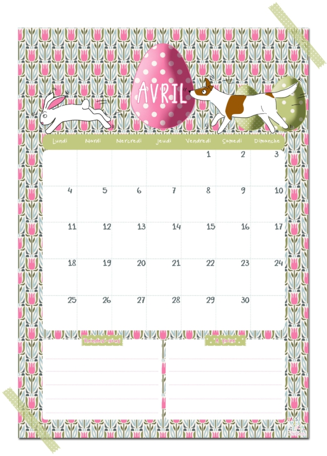 gratuit calendrier avril free printable calendar illustration