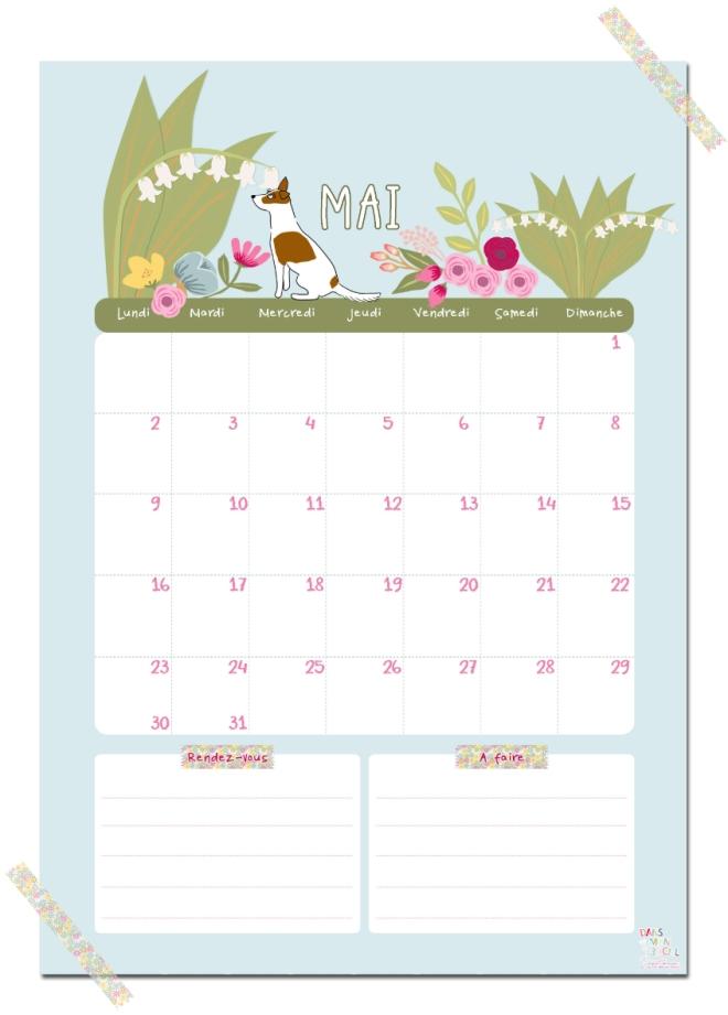 gratuit calendrier mai free printable calendar illustration
