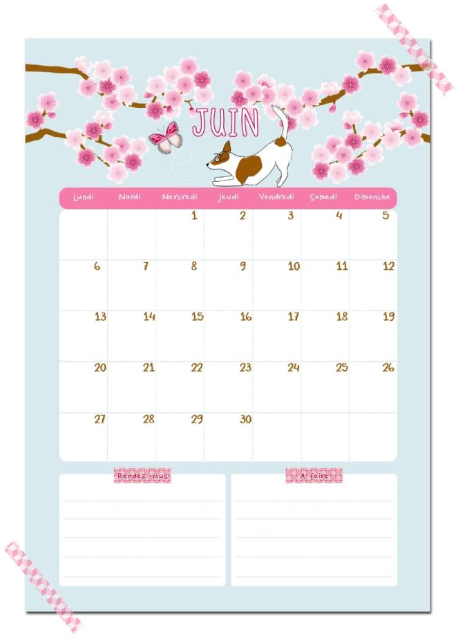 gratuit calendrier juin free printable calendar illustration