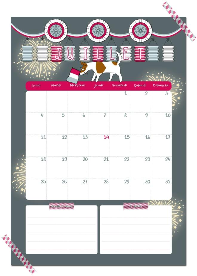 gratuit calendrier juillet free printable calendar illustration