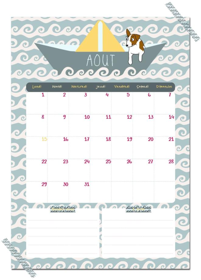 gratuit calendrier aout free printable calendar illustration