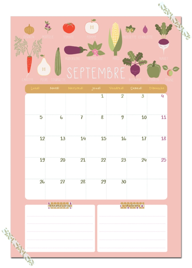 gratuit calendrier septembre free printable calendar illustration