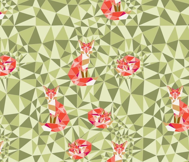 geodesic-pattern-fox-in-green