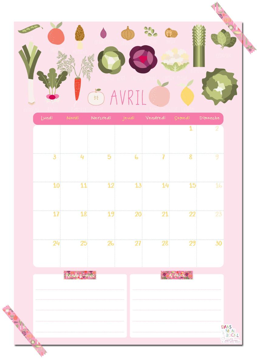 Calendrier du mois d avril dans mon bocal - Calendrier lunaire rustica avril 2017 ...